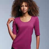 Women's Triblend Deep Scoopneck Three-Quarter Sleeve Top