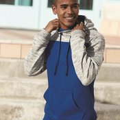 Melange Fleece Colorblocked Hooded Pullover