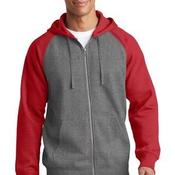 Raglan Colorblock Full Zip Hooded Fleece Jacket